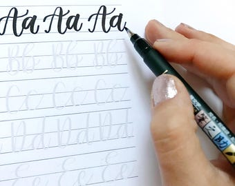 Brush Lettering Practice Sheets, Small Brush Pen - Instant Download