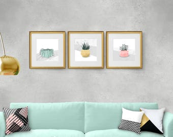 Living room wall art, Living room decor, Square print set, Cactus print, Minimalist print set, Modern wall art, Plant, Scandinavian, Giclee