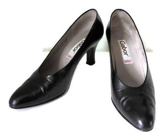 Vintage Gabor Leather  Shoes Pumps/Heels/5.5 UK/38 EU/7.5US/Pin Up Shoes/Rockabilly Shoes