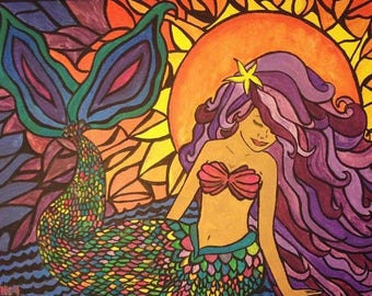 Mermaid Sunset painting