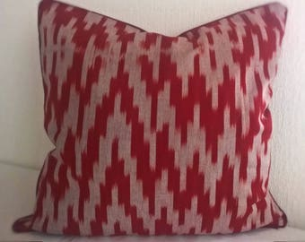 Ruby Red Ikat pillow cover Decorative pillow Accent pillow Ikat fabric Central Asian Tajik Ikat