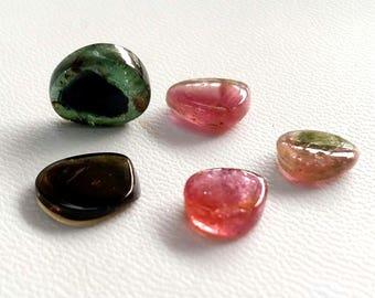 Natural WATERMELON TOURMALINE Slices, smooth slices loose gemstone ,7.5x8 mm --  9x11 mm, 5 pieces, 15 ct.[E2511]rare tourmaline gemstone