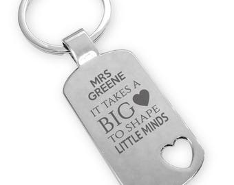Personalised engraved TEACHER, teaching assistant keyring end of term gift, thank you, heart cut out - TEA5