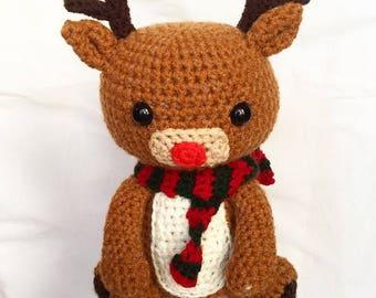 Handmade Crochet Rudolph Reindeer Christmas Toy