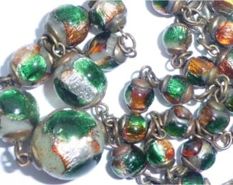Vintage Art Deco Venetian/Bohemian Foil Glass Bead Necklace
