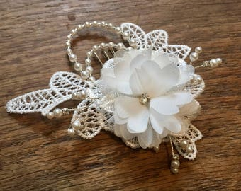 Lace, Flower and Pearl Bridal Hair Comb