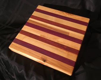 "HARDWOOD CUTTING BOARD 10""x10""x1.5"""