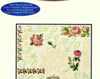 cross stitch and Hardanger sampler Kit roses linen vanilla 27 x 27 cm