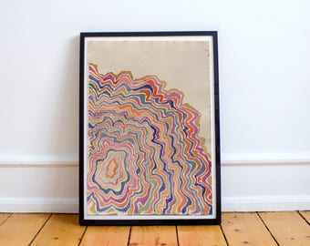 Abstract Painting on paper. Abstract Watercolor, modern and original art, cheerful and soft colors, watercolor drawing, unique gift