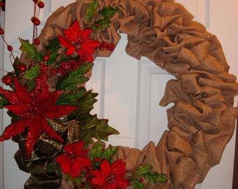 Burlap Chistmas wreath, Poinsettia Christmas wreath, Red and Green christmas wreath, Country Poinsettia Christmas wreath