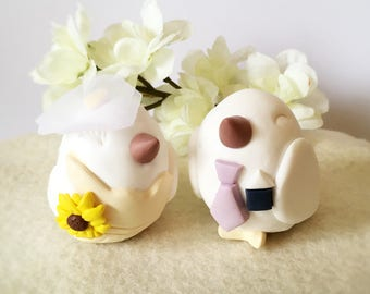 Little Bird Bride and Groom Clay Wedding Cake Topper with Sunflower