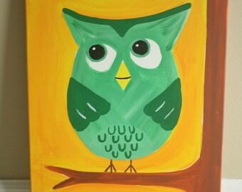 Green Owl Acrylic Painting
