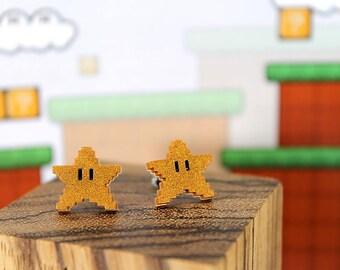 Mario Earrings- Mario 8bit Power Star Earrings -Stainless Steel Stud- Super Mario Bros -Nintendo/Mario Gift