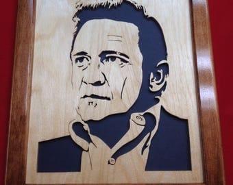 Johnny Cash Wooden Portrait