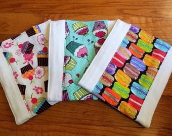 Set of 3 Sweet Treats Burp Cloths - Baby Shower Gift - Baby Girl