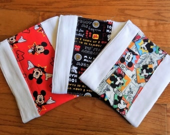 Set of 3 Disney's Mickey Mouse Burp Cloths - Baby Shower Gift - 6 Ply Premium