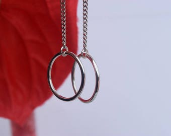 925 Sterling silver chain drop earrings - saturns ring . Minimalistic