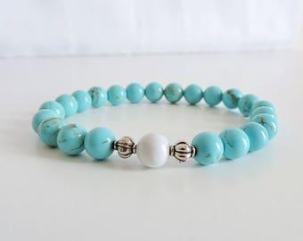 Turquoise Bracelet, turquoise beaded bracelet, beaded bracelet, gemstone bracelet,  yoga bracelet, boho jewellery