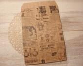 Vintage Newsprint Paper Bag 6X9