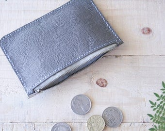 Minimalist Grey leather coin purse, small wallet, zipper pouch