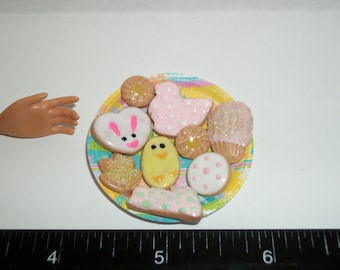 Dollhouse Miniature Handcrafted Easter Cookies ~ Dessert Doll Food ~ reference Barbie hand for size 921