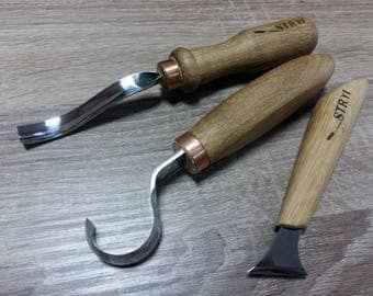 Set for carving spoons, bowls and other handiworks 3 pcs + GIFT Spoon carving tools Wood carving tool