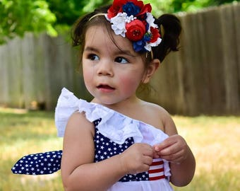 Patriotic Flower Crown - america Flower Crown - Fourth of July - 4th of july - Flower Headband - red white and blue - flower crown