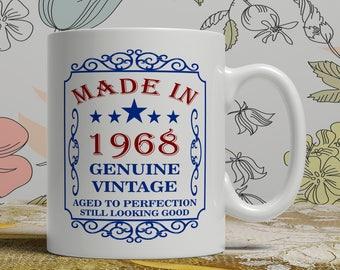 50th birthday mug for mom, 50th birthday mug her, 50th Birthday mug for dad, born 1968 gift, funny wife mug, best friend mug, EB 1968 Blue