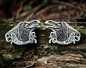 Huginn and Muninn Odin's ravens hard enamel pin set 1.5 inch American gods, norse, viking