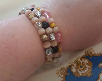 Light brown 3  stretchy bracelet set
