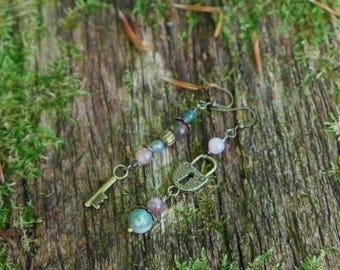 Pink tourmaline earrings beads bronze keys and Jasper