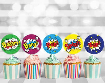 Superhero cupcake toppers, cupcake topper, superhero birthday, superhero party, cake topper, cupcake decorations, printable toppers