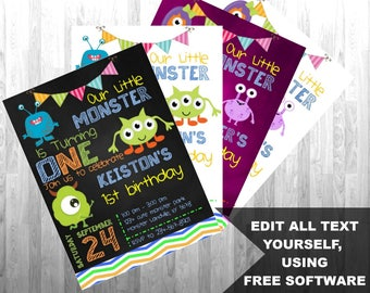 Little Monster Boy or Girl Invitation, Instant Download Invitation, Monster Birthday Party, Edit Yourself!  4x6 and 5x7 versions included.