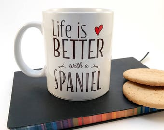 Dog mug, Spaniel mug, Cocker Spaniel, Springer Spaniel, American Spaniel, gift for dog, dog lover, ceramic mug, handprinted
