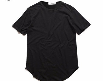Curved Hem Blank Extended Men Tee Shirts