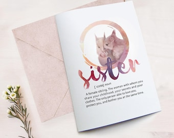 Sister birthday card printable, funny card for sister, best sister card, card from sister, printable definition sister, squirrel sisters art