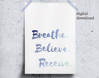 Breathe Self Care Printable, Relaxation Print Zen Office Printable, Yoga Quotes Wall Art, Positive Affirmation, Zen Yoga Poster