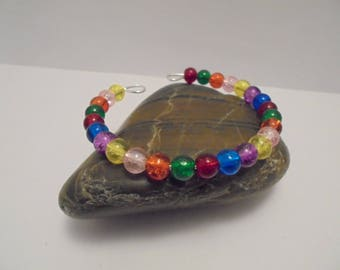 Women bracelet yellow, blue, green, orange, purple, red and pink beads