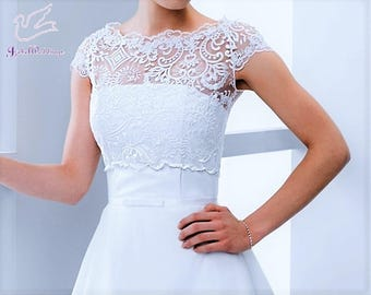 Lace top for a wedding dress with short sleeves