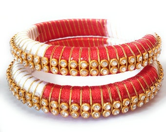 Red and White Silk Thread Bangle