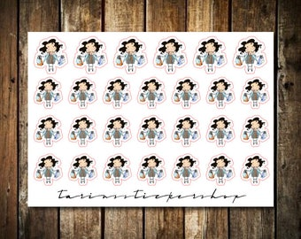 Shopping - Cute Brunette Girl - Functional Character Stickers