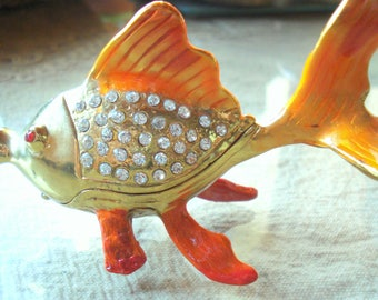 Vintage Fish Jewelry Box, Solid Brass, Home Office Decor