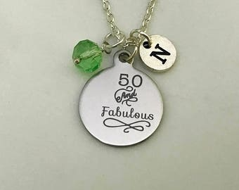 50th Birthday necklace Gift, personalised 50th necklace, 50 and fabulous, 50th birthday jewellery, 50th birthday gift for her