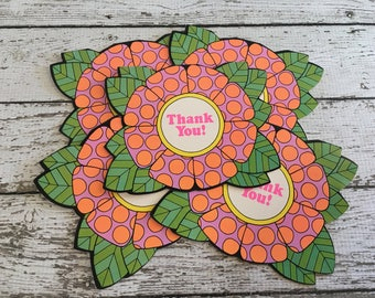 Vintage MOD~ Retro ~THANK YOU Cards ~ Blank~ Set of 5 ~ Floral Cut Out ~