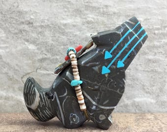 Zuni Fetish-Native American Art-COYOTE-Little Art-Stone Totem Animal-Zuni Carving-Purisma Stone-Fossils-Turquoise