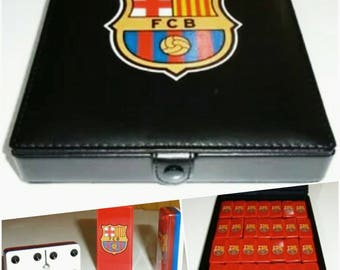 FC Barcelona Dominoes Game Set Double 6 Domino Futbol Dominos Man Men Gift Dominoes ManCave Father Dad Husband Christmas Birthday Gift Messi