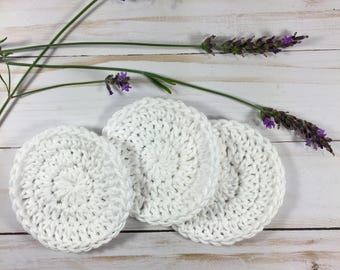 Cotton Facial Scrubbies Set of 3, cotton facial rounds, crochet face scrubbies, crochet face rounds
