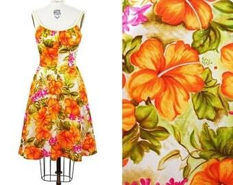 ON SALE 1960s Dress // Hawaiian DeWeese Orange Hibiscus Tropical Smocking Summer Dress