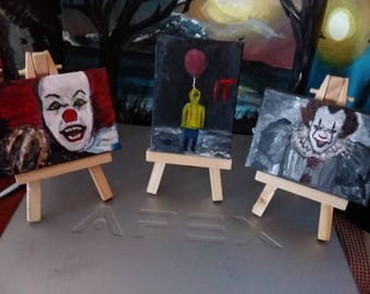 Hand painted Mini canvas on easel