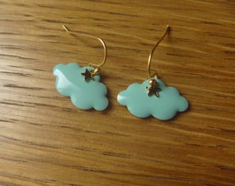 Cloud with rain drops and green fall: Earrings